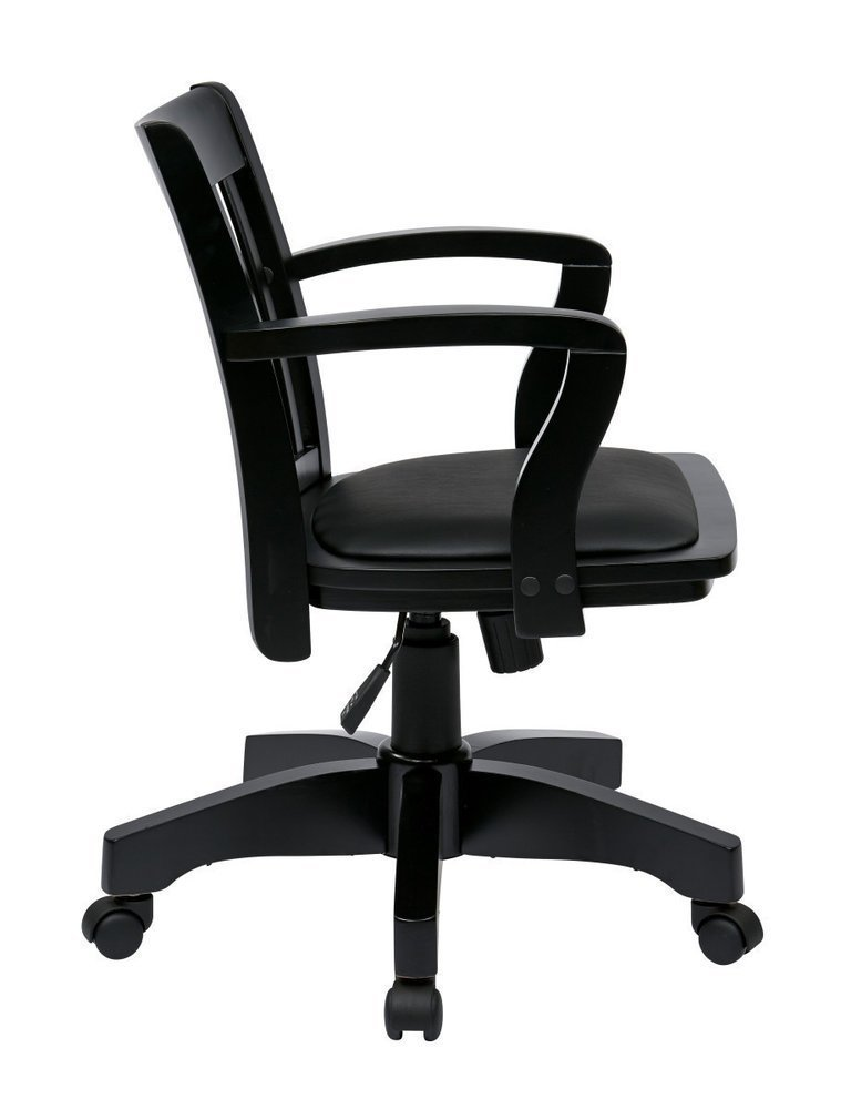 Deluxe Wood Banker S Chair With Vinyl Padded Seat In Black