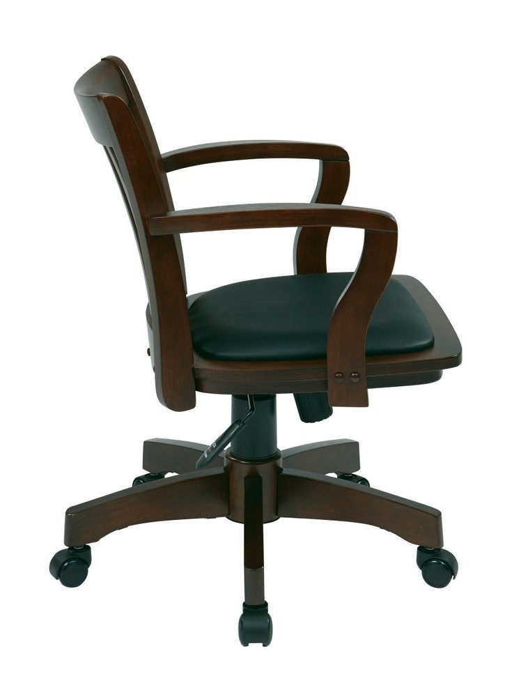 Deluxe Wood Banker S Chair With Vinyl Padded Seat In