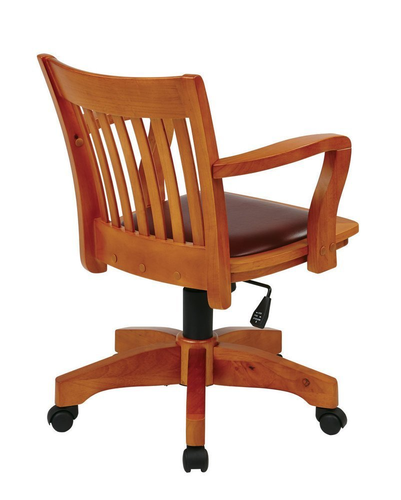 Deluxe Wood Banker S Chair With Vinyl Padded Seat In Fruit