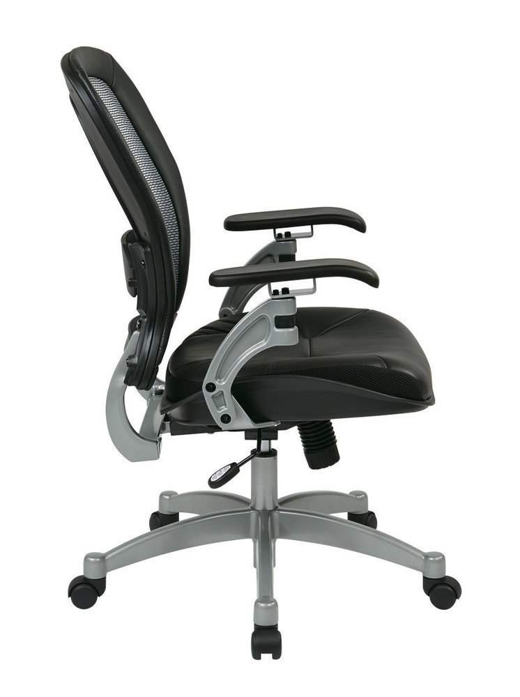 Professional Light AirGrid® Chair With Leather Seat And Platinum Finish  Accents, Cantilever Arms, And V Back Support