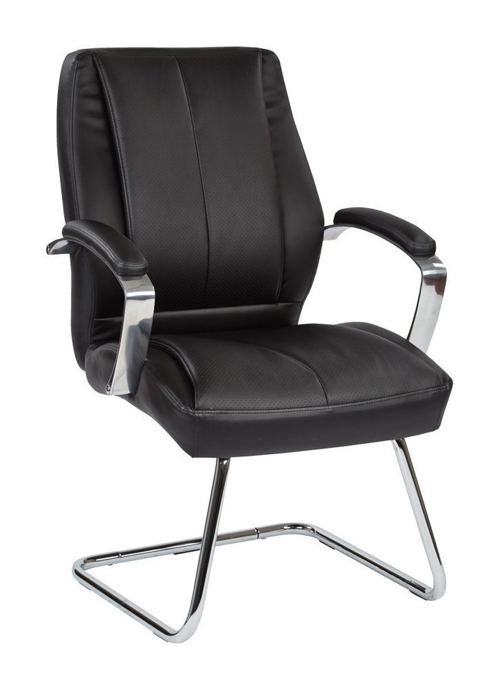 deluxe mid back executive black bonded leather visitors chair with chrome finish base and padded. Black Bedroom Furniture Sets. Home Design Ideas