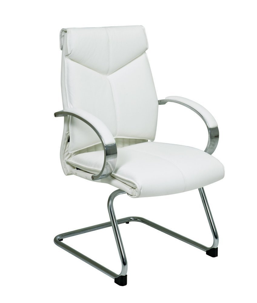 deluxe mid back white leather visitors chair with chrome base and