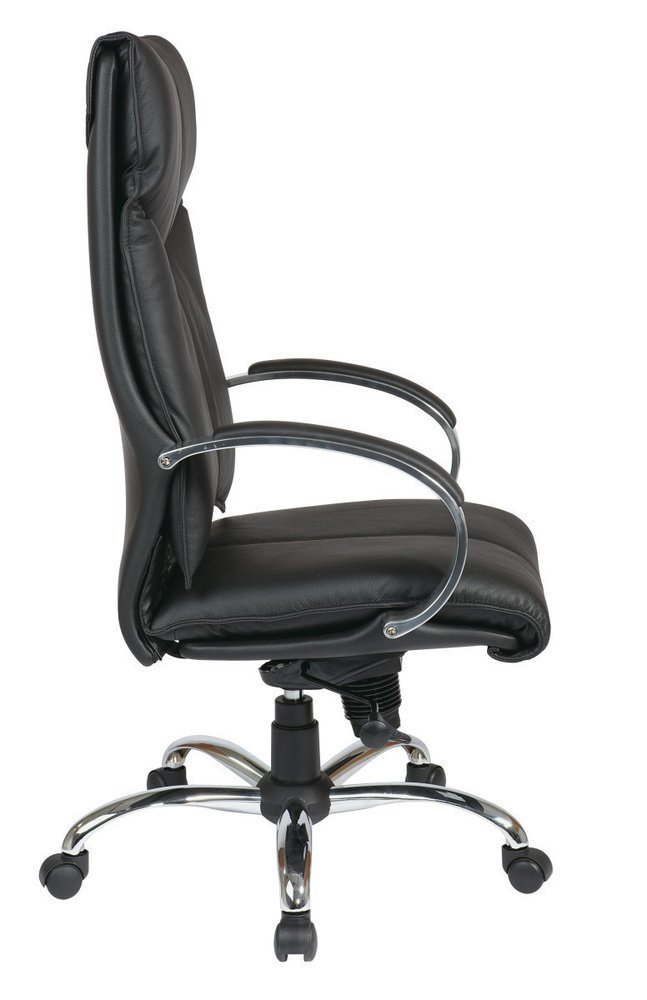 Deluxe High Back Black Executive Leather Chair With Chrome Finish Base And  Padded Polished Aluminum Arms