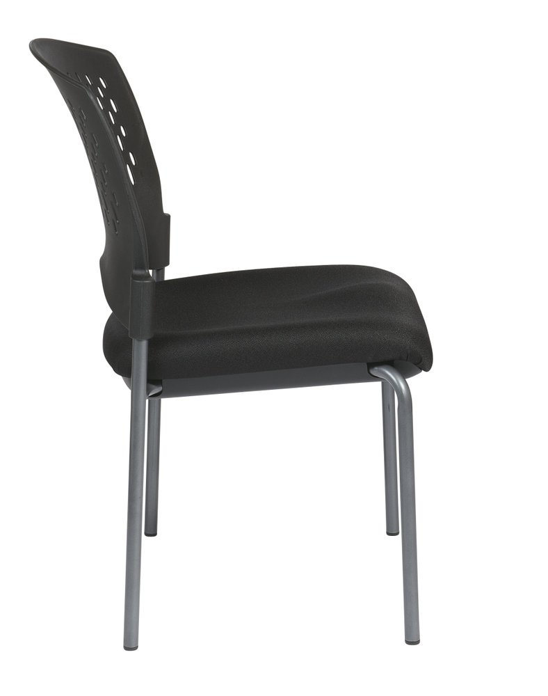 Titanium Finish Armless Visitors Chair With Ventilated