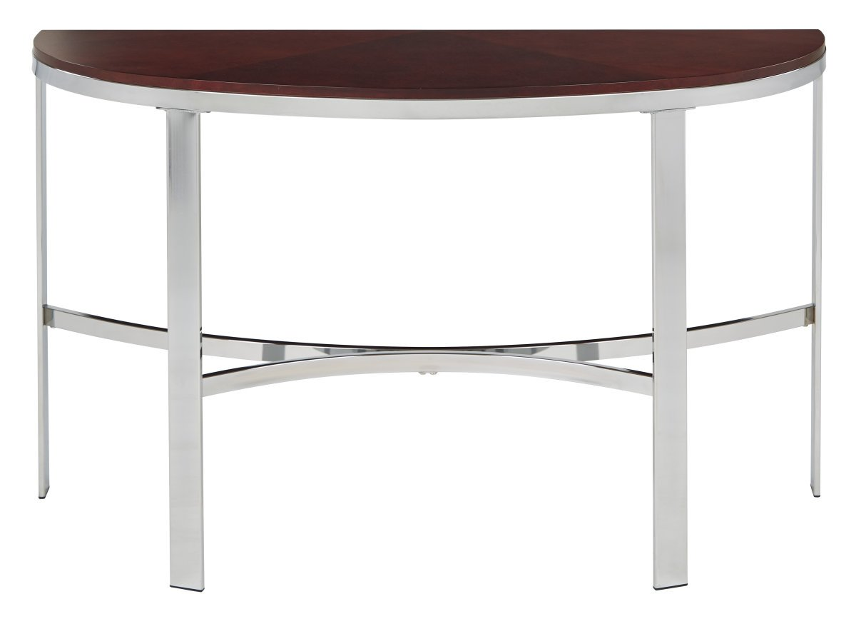 Metal Foyer Table : Alexandria foyer table in cherry finish top crome metal