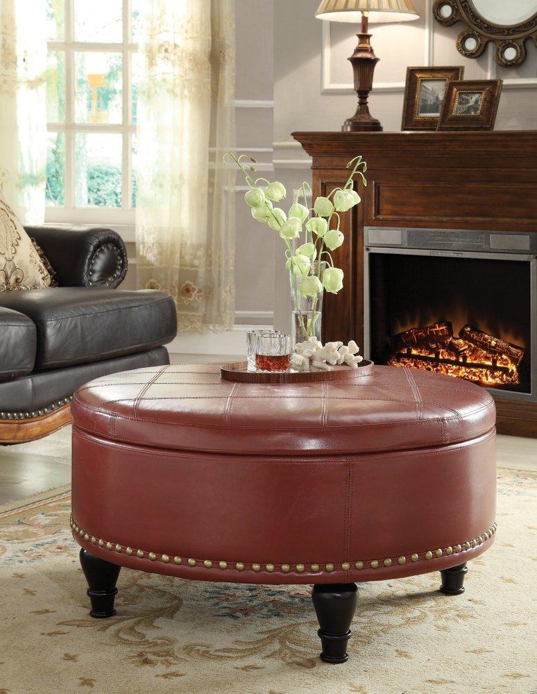 Augusta Storage Ottoman Cream Bonded Leather Ergoback Com