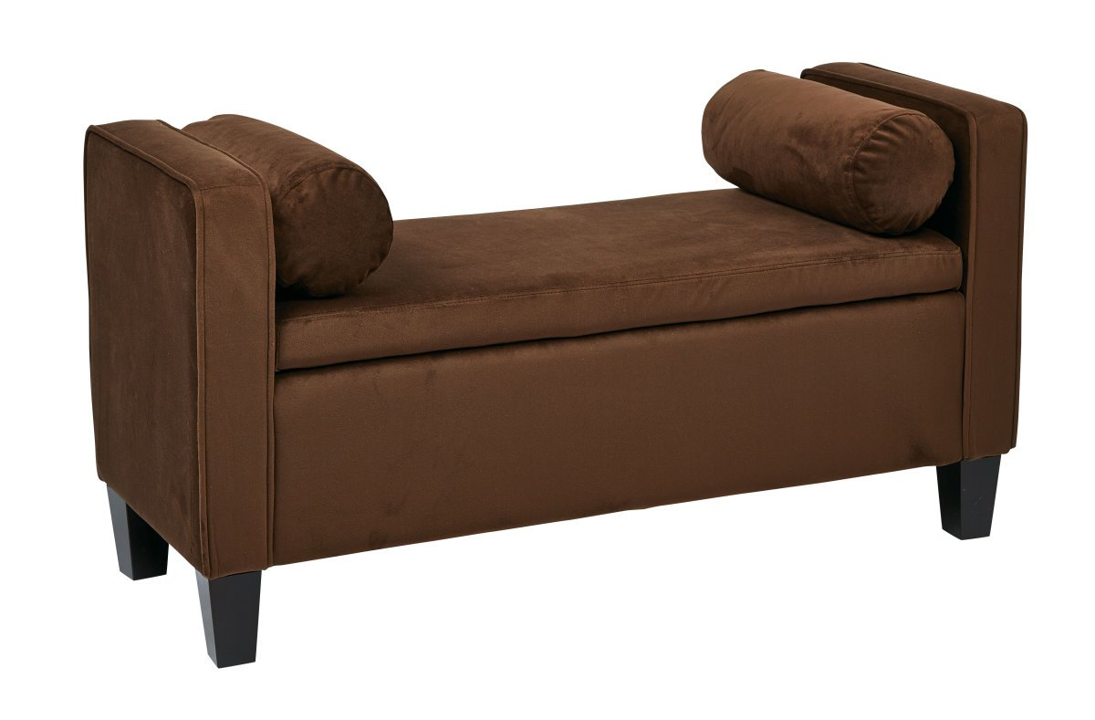 Cordoba Storage Bench With Pillows In Chocolate Velvet Fabric