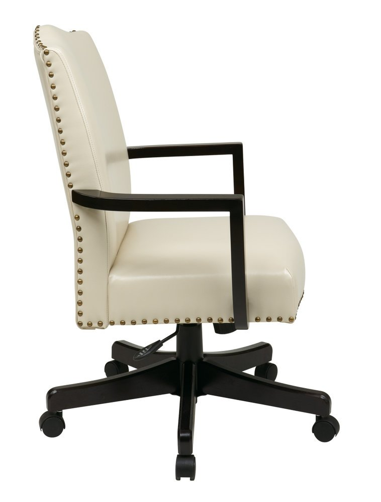 e32907358c Morgan Managers Chair with Thick Padded Bonded Leather Seat and Back with  Steel Reinforced Wood Base and Dual Wheel Carpet Casters (Cream) -  Ergoback.com