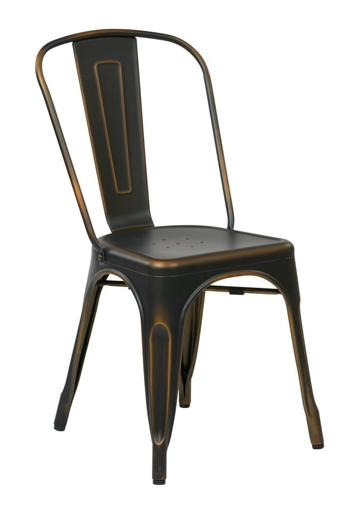 Bristow Armless Chair Antique Copper Finish 4 Pack