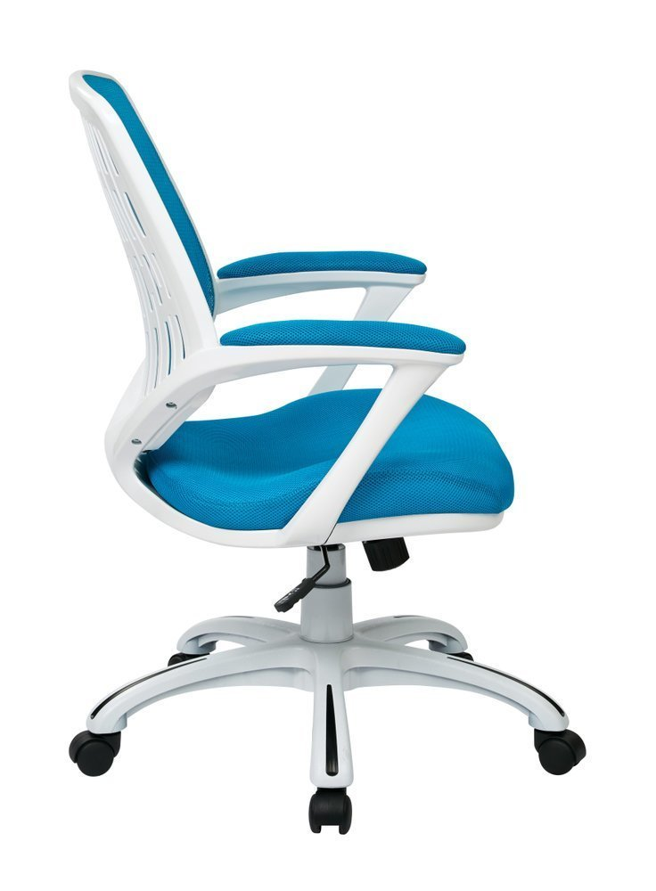 Calvin Office Chair With White Frame And Blue Mesh Fabric