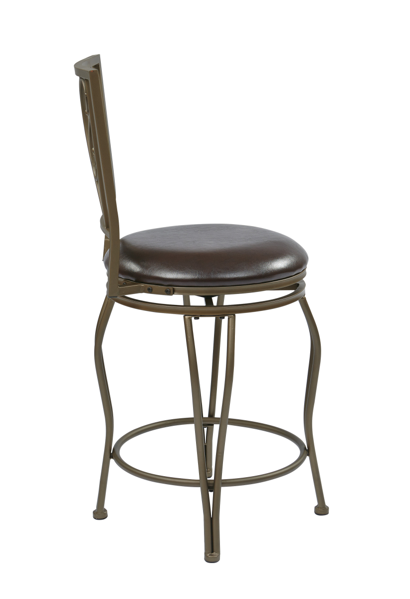 Quot 24 Quot Quot Cosmo Metal Swivel Barstool In Espresso Faux Leather