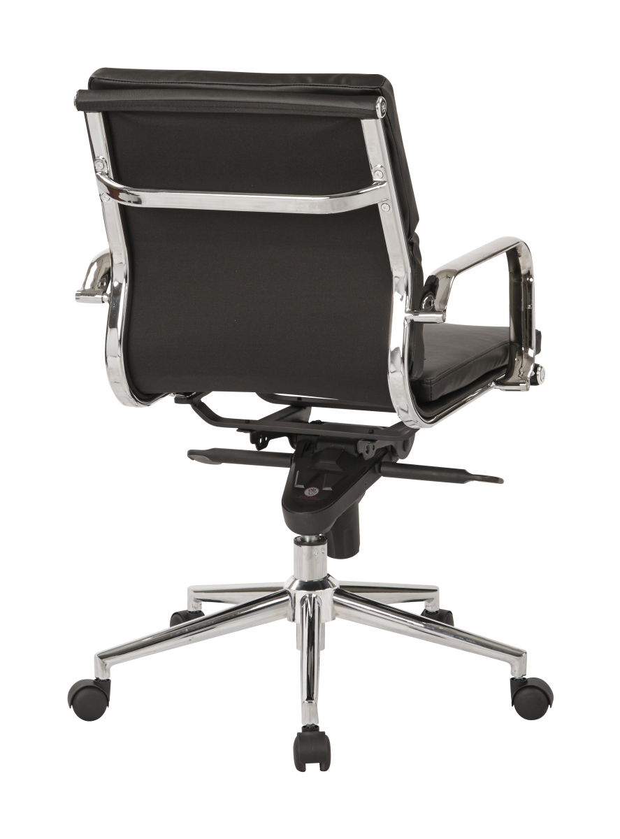 Mid Back Black Bonded Leather Chair With Knee Tilt Control
