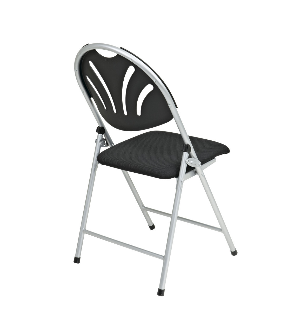Folding Chair with Black Plastic Fan Back and Fabric Seat with Silver Frame