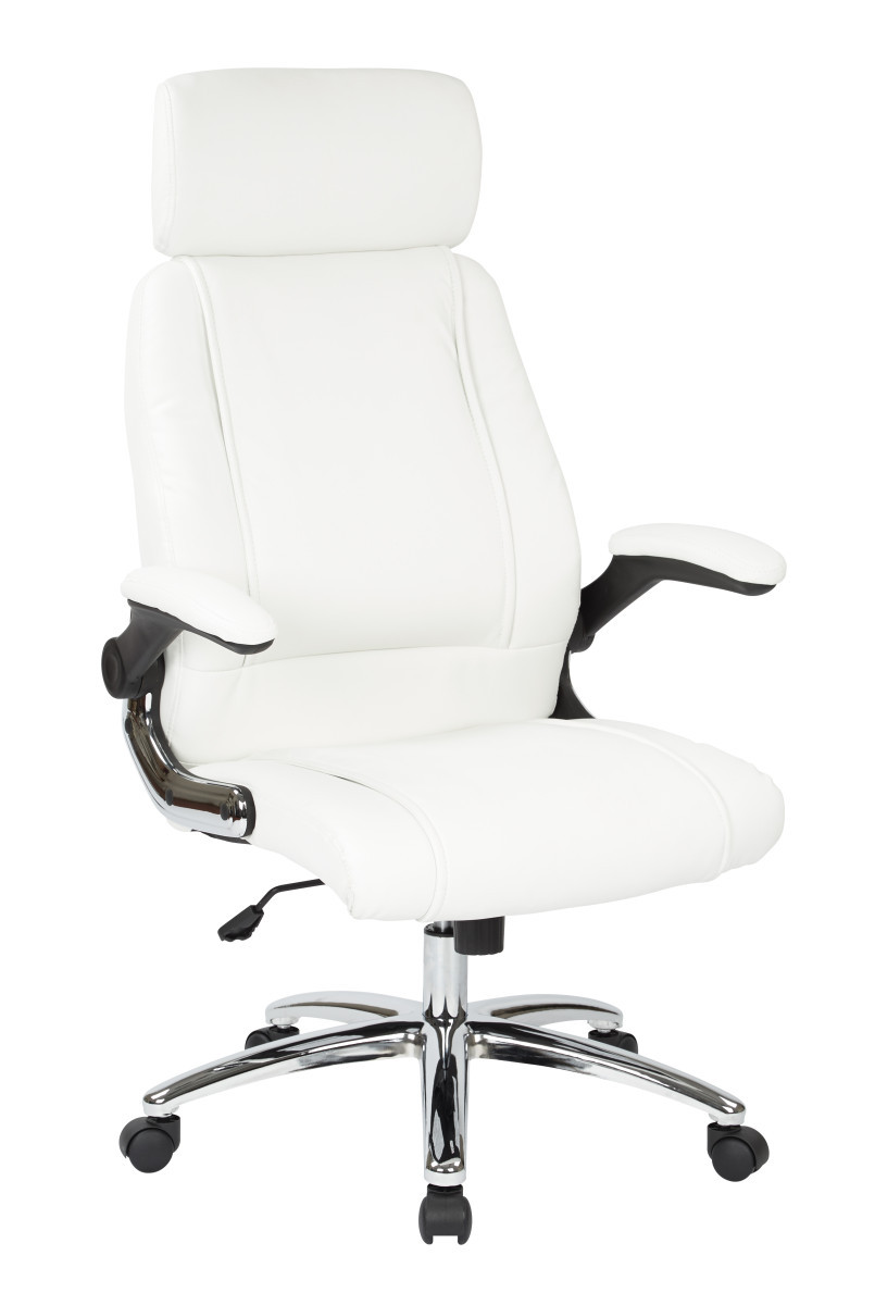 executive faux leather chair with metal chrome base and white faux leather. Black Bedroom Furniture Sets. Home Design Ideas