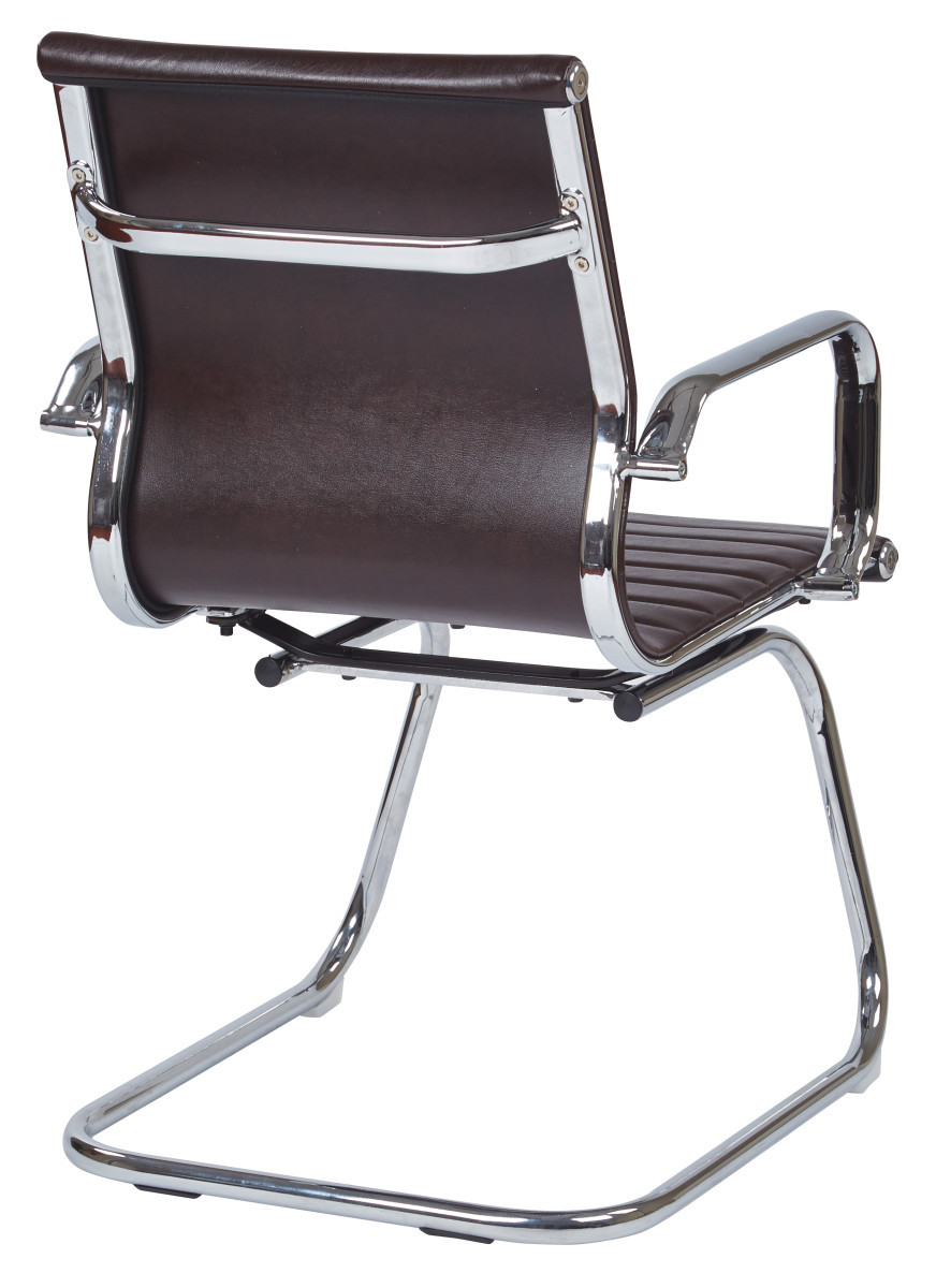 mid back chocolate faux leather office chair with chrome