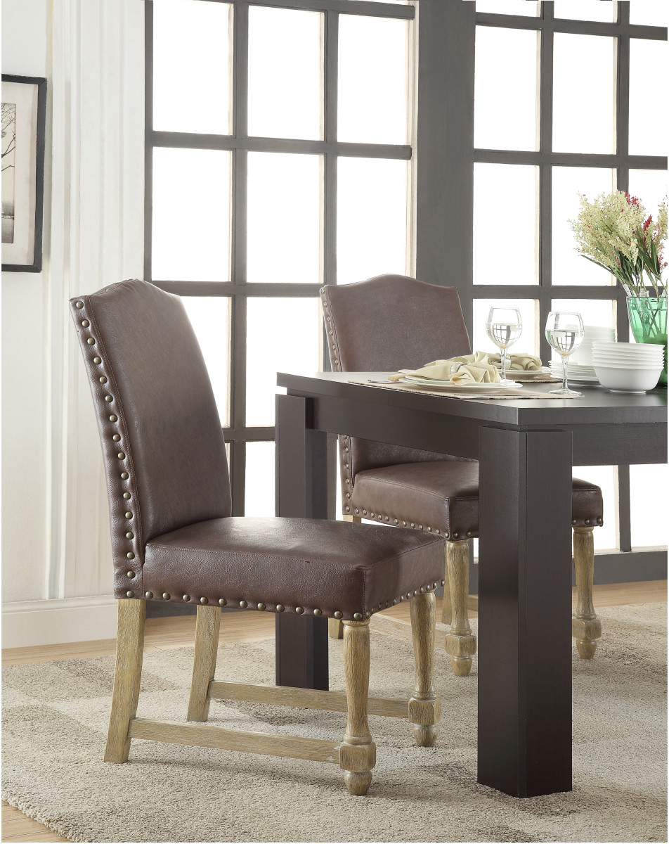 Swell Kingman Dining Chair With Antique Bronze Nailheads And Brushed Legs In Espresso Bonded Leather Bralicious Painted Fabric Chair Ideas Braliciousco