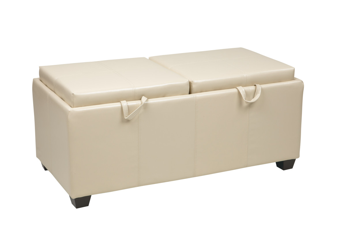 storage ottoman in cream with dual trays seat cushions