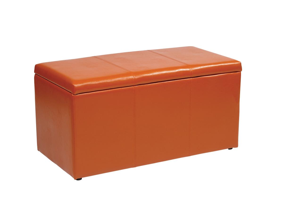 Remarkable 3 Piece Orange Vinyl Ottoman Set Creativecarmelina Interior Chair Design Creativecarmelinacom