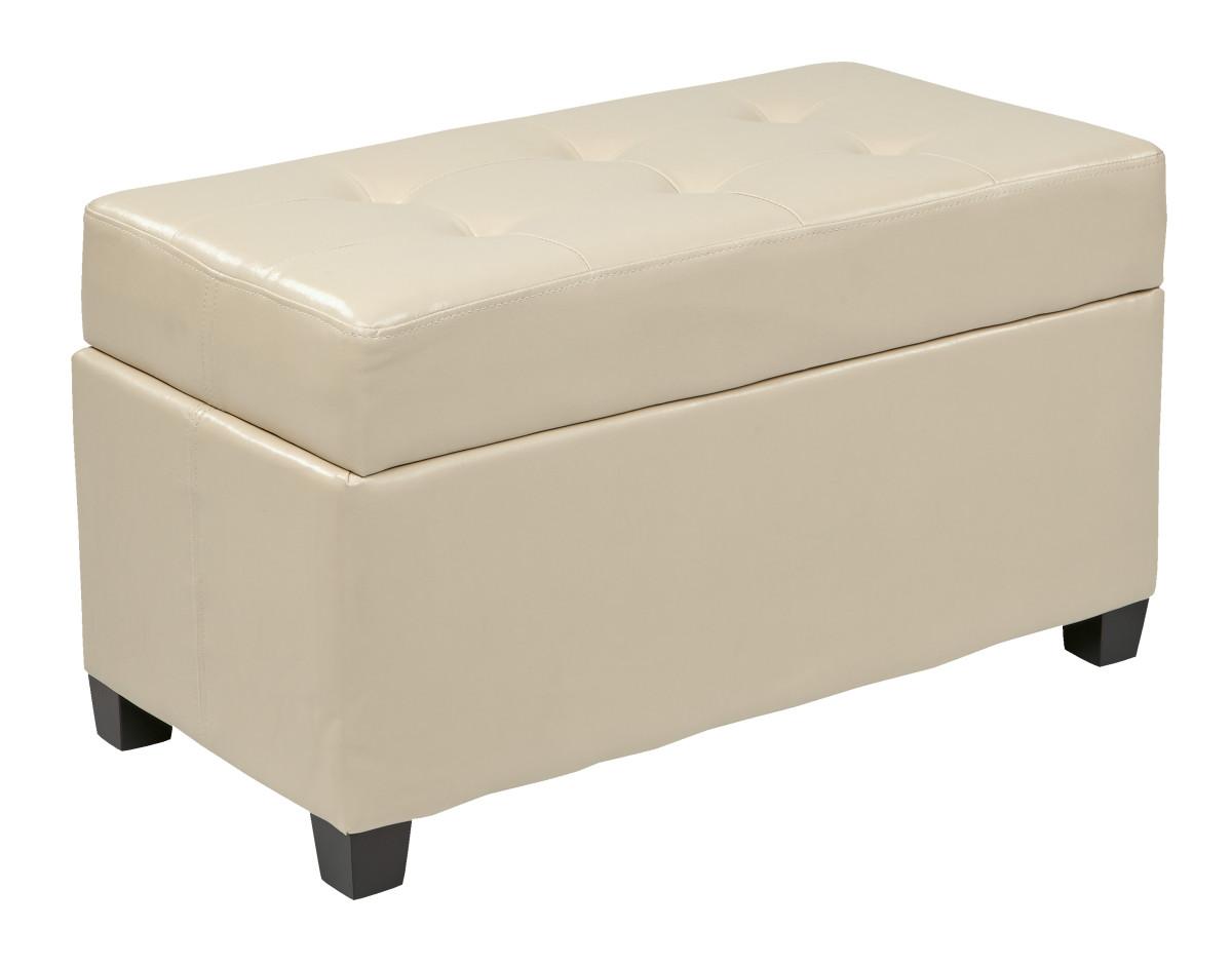 Cream Faux Leather Storage Ottoman Ergoback Com