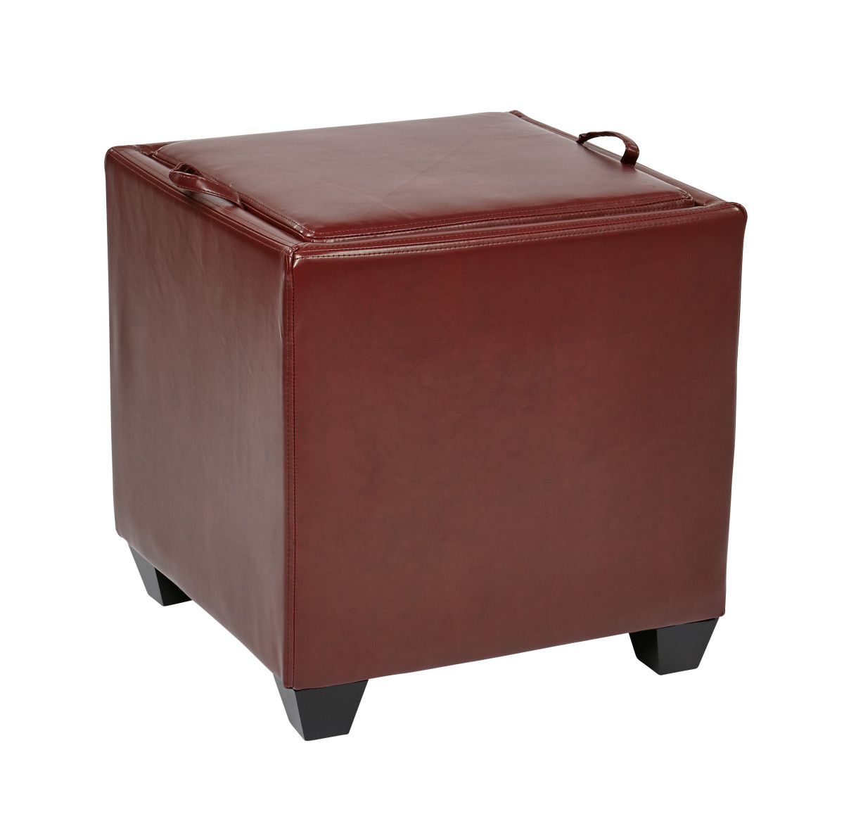 storage ottoman with tray in crimson red bonded leather. Black Bedroom Furniture Sets. Home Design Ideas