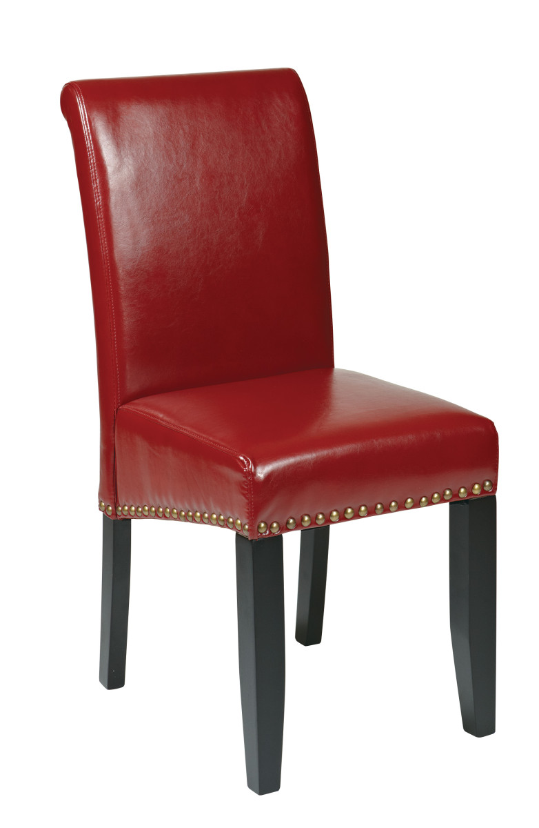 Crimson red bonded leather parsons chair for Leather parsons dining chairs