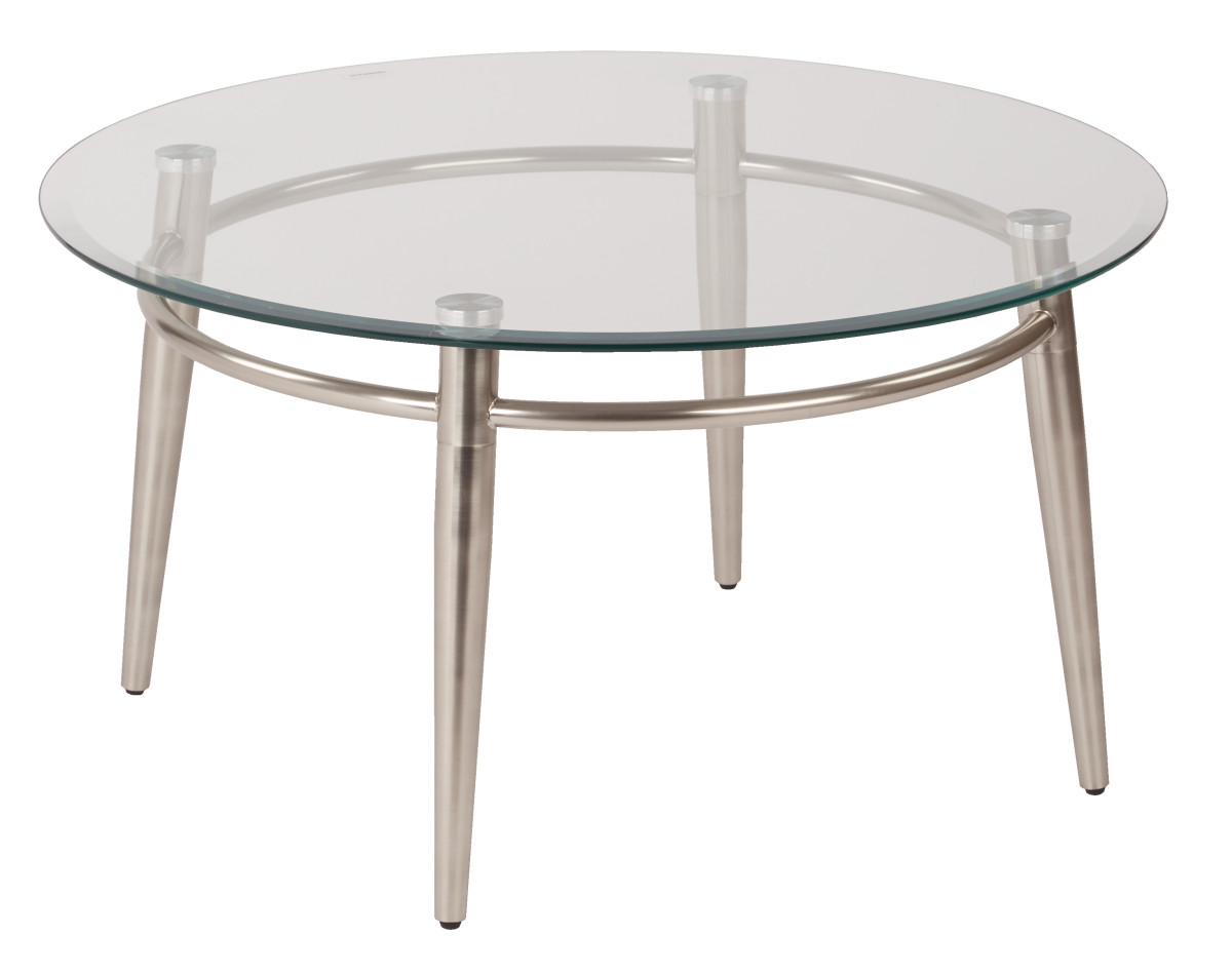 Brooklyn Clear Tempered Glass Round Top Coffee Table With Nickel Brush Legs Ergoback Com