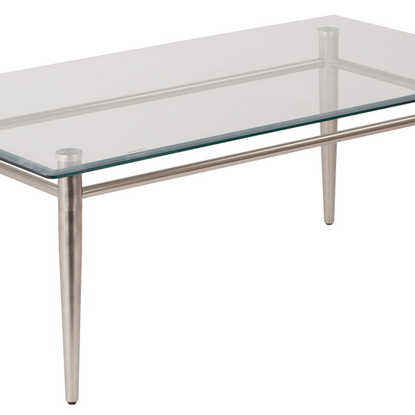 Square Coffee Table Tempered Glass: Brooklyn Clear Tempered Glass Top Coffee Table With Nickel