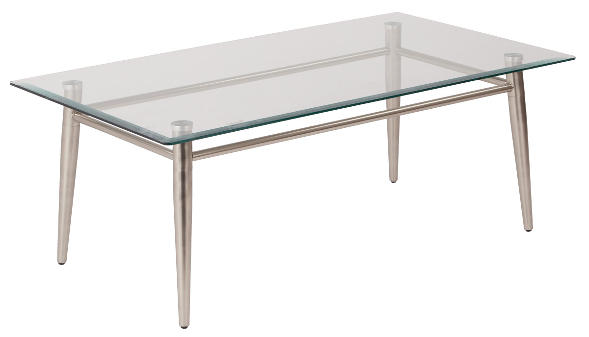 Brooklyn clear tempered glass top coffee table with nickel for Brushed nickel coffee table