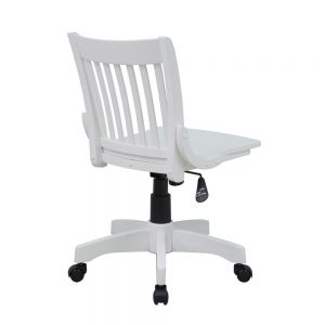 Deluxe Armless Wood Bankers Chair w Wood Seat in Antique White Office Star Products