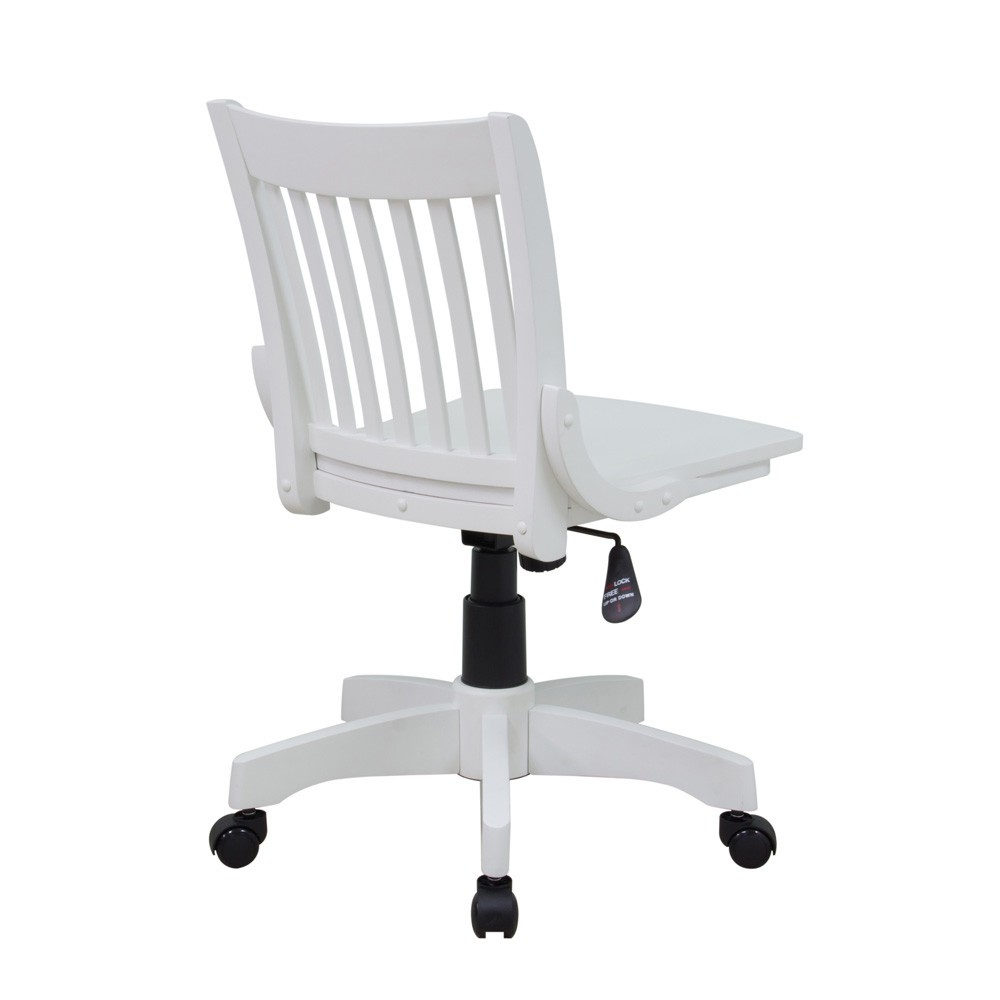 Deluxe Armless Wood Bankers Chair With Wood Seat Antique