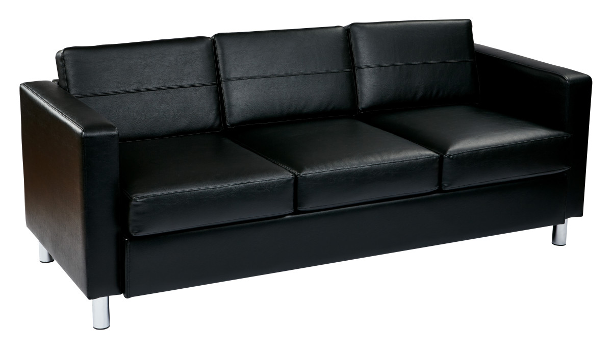 pacific easy care black faux leather sofa couch with box spring seats and silver color legs by. Black Bedroom Furniture Sets. Home Design Ideas