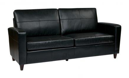 Black Bonded Leather Sofa With Espresso ...