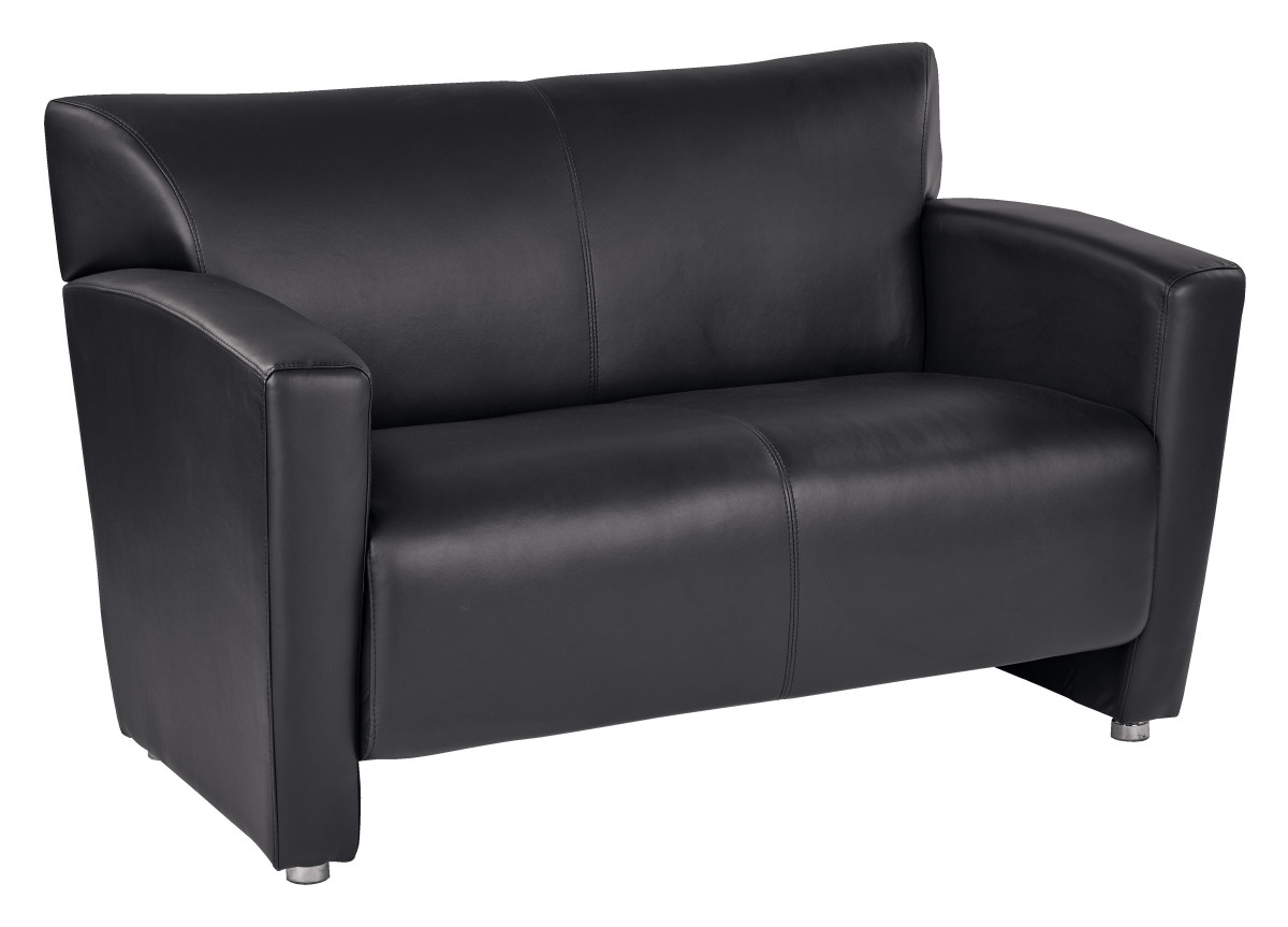 Black faux leather loveseat with silver finish legs Loveseat black
