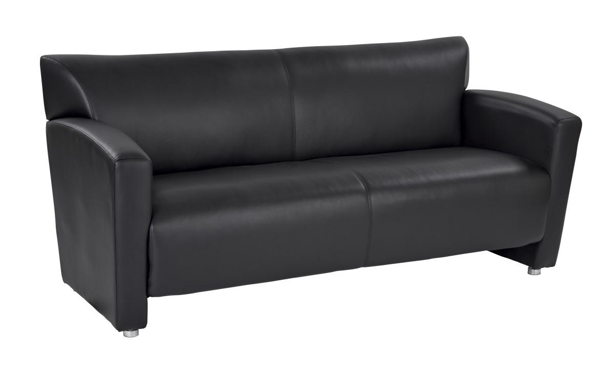 Black Faux Leather Sofa with Silver finish Legs Ergo Back : SL2913S U6hi from www.ergoback.com size 1200 x 730 jpeg 67kB