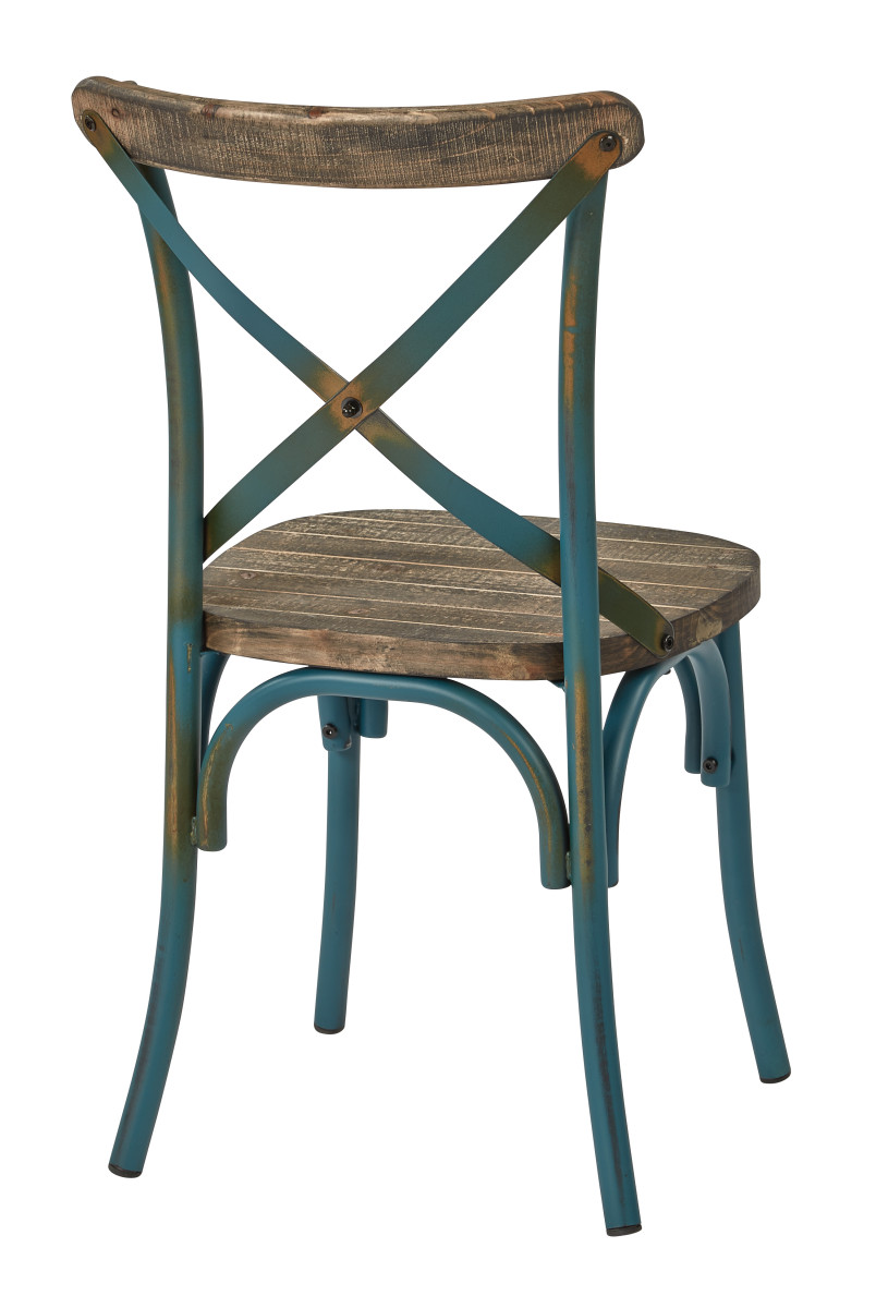 Beau Somerset X Back Antique Turquoise Metal Chair With Hardwood Rustic Walnut  Seat Finish
