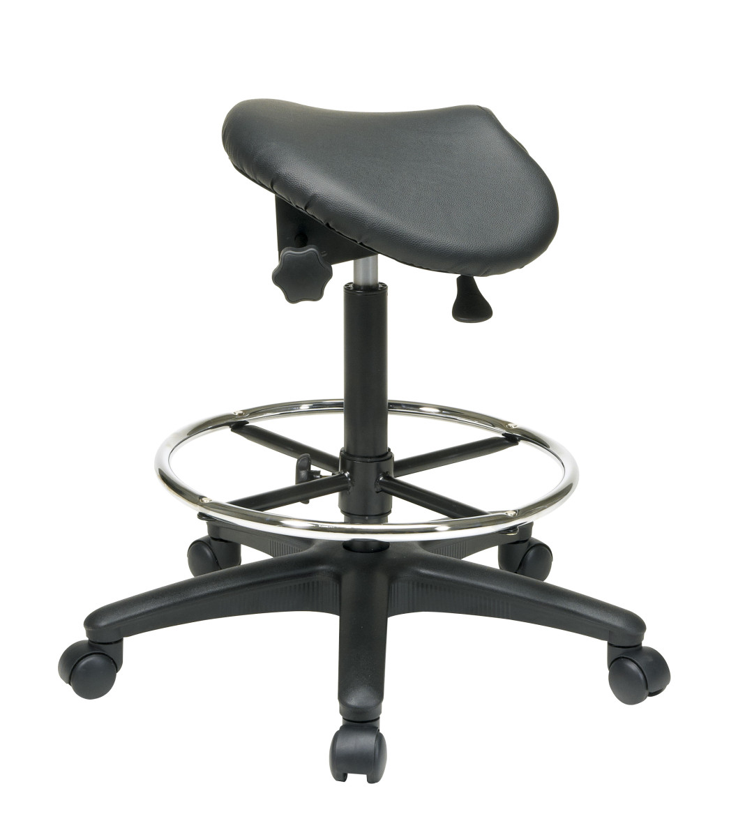 Backless Stool With Saddle Seat Dual Wheel Carpet Casters