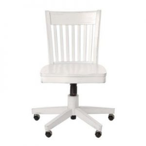 Armless Wood Bankers Chair w Wood Seat in Antique White Office Star Products Deluxe