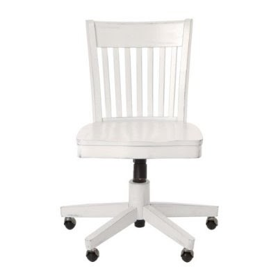 Astonishing Deluxe Armless Wood Bankers Chair With Wood Seat Antique White Finish Lamtechconsult Wood Chair Design Ideas Lamtechconsultcom