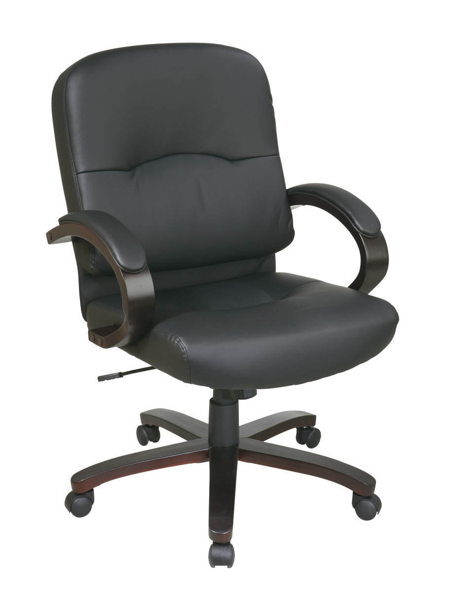 Bonded Leather Mid Back Chair with Espresso Finish Wood ...