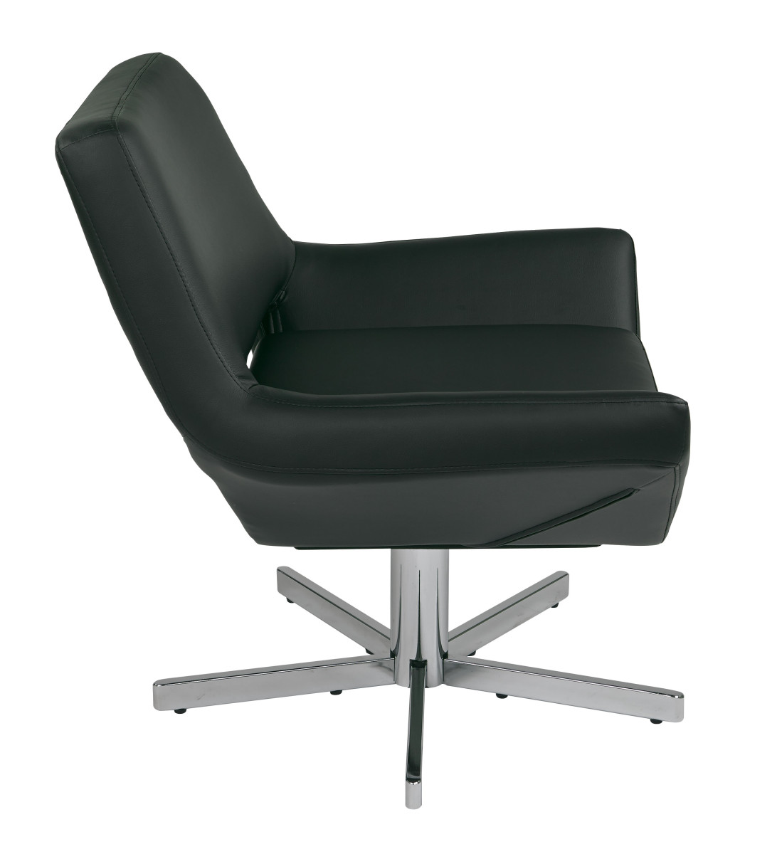 Yield 31 modern black faux leather lounge chair with for Contemporary leather lounge chairs