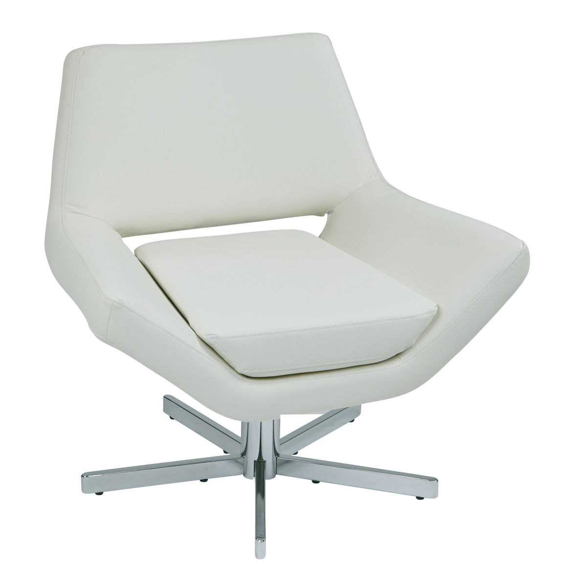 Yield 31 modern white faux leather lounge chair with for Modern white leather chair