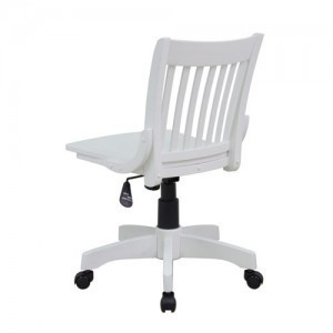 Office Star Products Deluxe Armless Wood Bankers Chair w Wood Seat in Antique White