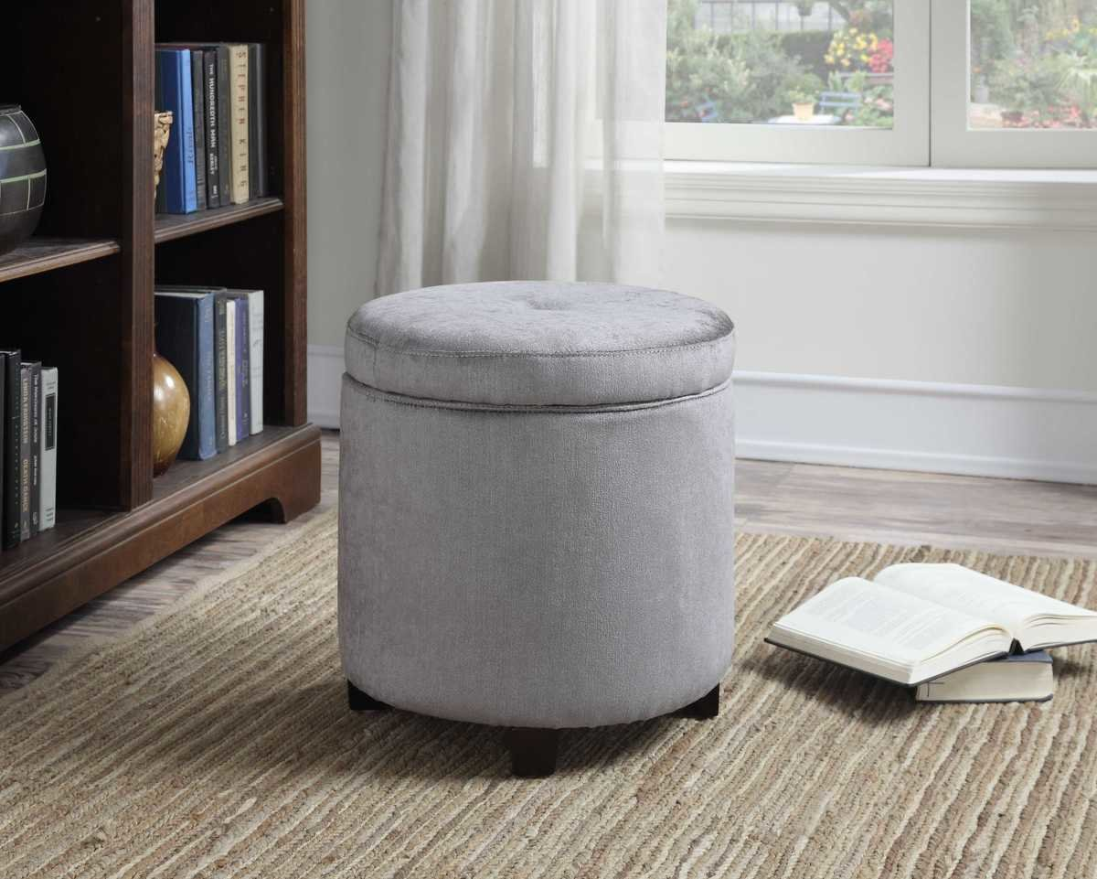 Terrific Mia Small Round Storage Ottoman Caraccident5 Cool Chair Designs And Ideas Caraccident5Info