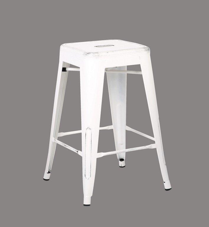 Pleasing Backless Distressed Metal Barstool White 24 Inch Set Of 2 Uwap Interior Chair Design Uwaporg