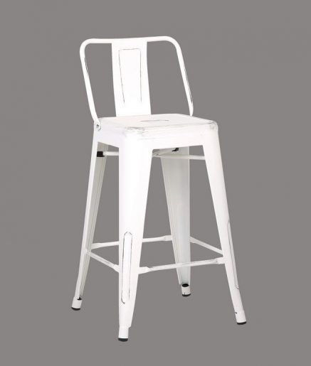 Tremendous Distressed Metal Barstool With Back White 24 Inch Set Of 2 Forskolin Free Trial Chair Design Images Forskolin Free Trialorg