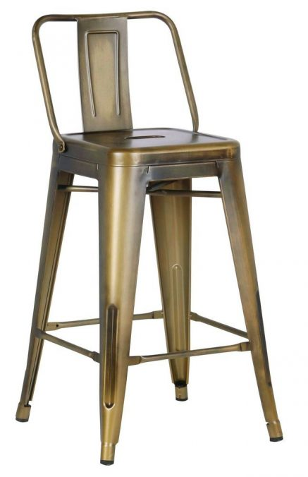 Metal Barstool With Back Vintage Brass 24 Inch Set Of 2