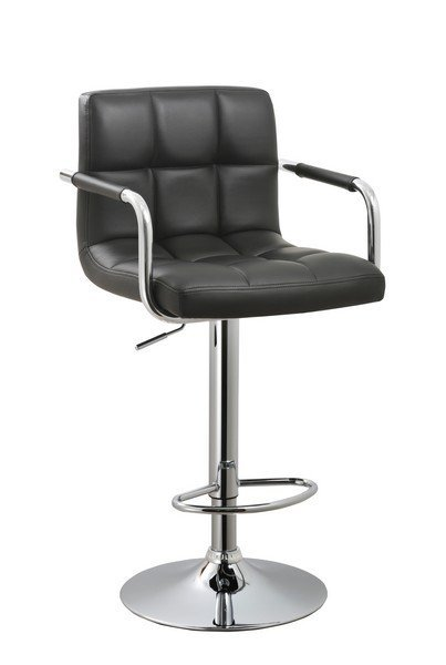 Contemporary Adjustable Swivel Arm Bar Stool With Cushion