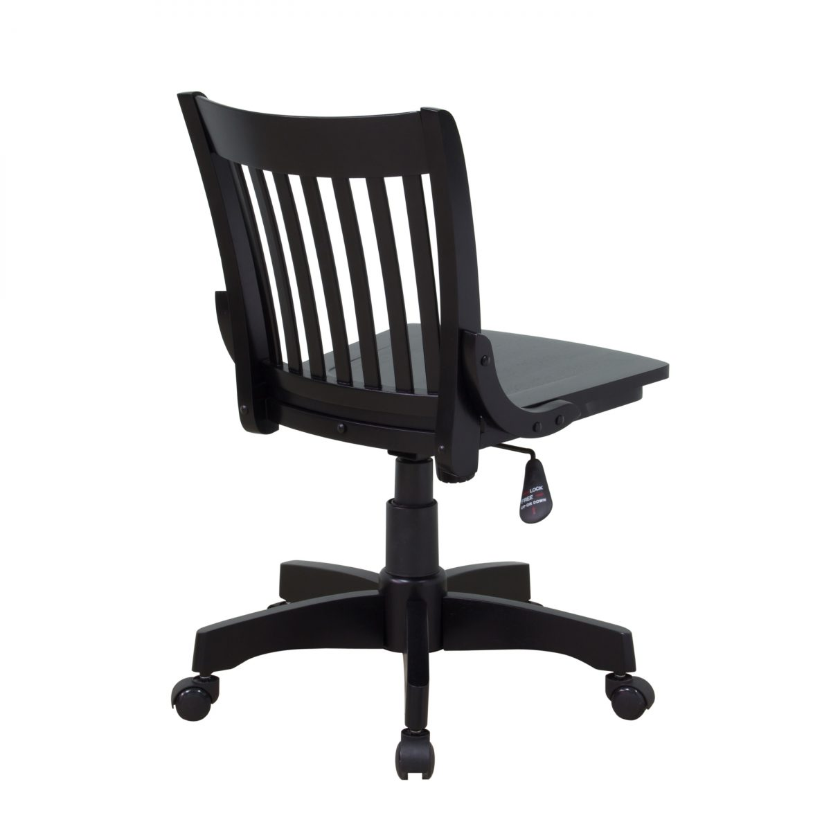 Deluxe Armless Wood Bankers Chair With Wood Seat Black