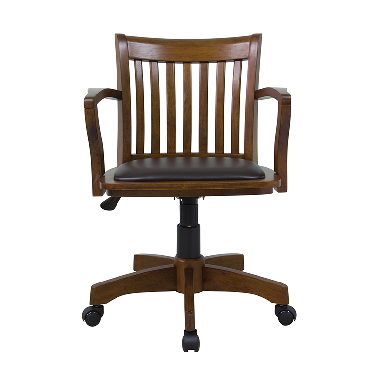 Deluxe Wood Bankers Chair With Vinyl Padded Seat Chestnut