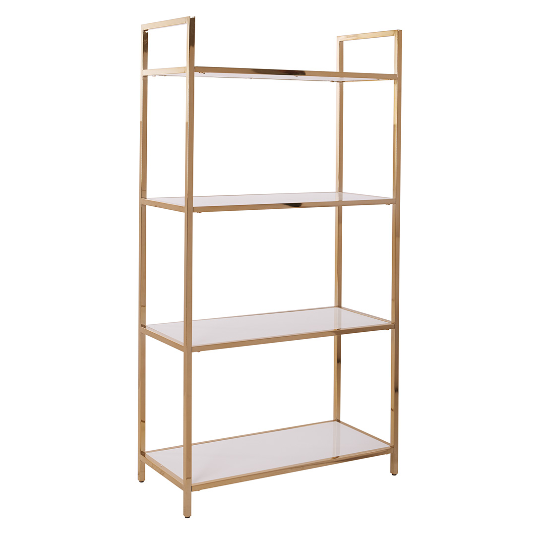 Alios Bookcase In White Gloss Finish With Gold Chrome Plated Base Als27 Wh Ergoback